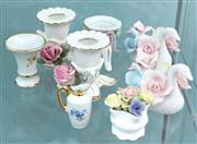 Sale 8470H - Lot 340 - A small group of fancy dressing table ceramics including swan and rose designed Dresden candle holders, Limoges vase, miniature jug,...