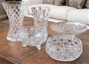 Sale 8562A - Lot 106 - A quantity of five assorted cut glass bowls and vases, H of tallest 25cm, some chips