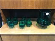 Sale 8643 - Lot 1049 - Green Glass Drinks Suite