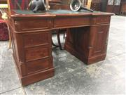 Sale 8740 - Lot 1544 - Twin Pedestal Desk with Leather Top