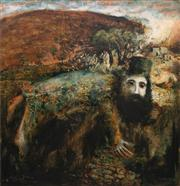 Sale 8773 - Lot 603 - Neville Pilven - Man at the Well 121 x 113.5cm