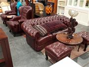 Sale 8843 - Lot 1026 - Leather Upholstered Button Backed Five Piece Lounge Suite inc Two Armchairs with Matched Footstools and a Two Seater