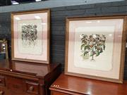 Sale 8868 - Lot 1096 - Set of (3) Florentine Style Hand-Coloured Botanical Engravings, mounted floating in gilt frames 99 x 90.5cm.