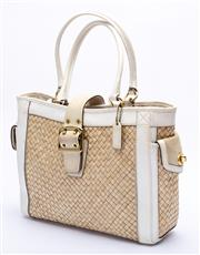 Sale 8921 - Lot 33 - A COACH STRAW AND LEATHER TOTE BAG; in woven raffia with cream leather and suede trim, rolled handles and gold tone hardware, interi...