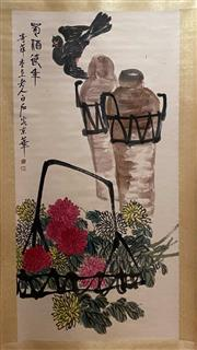 Sale 8980S - Lot 677 - Chinese Scroll of Birds in Flowers, Ink and Colour on Paper