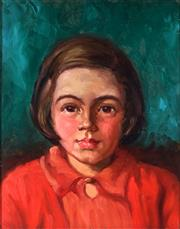 Sale 9001 - Lot 537 - Tempe Manning (1893 - 1960) - Portrait of a Girl in a Red Coat 31x 24 cm (frame: 43 x 37 x 3 cm)