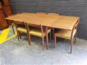 Sale 9039 - Lot 1066 - Teak Extension Dining Table with 6 Chairs (h:73 x w:134 x d:90cm)