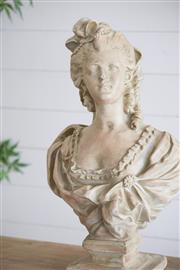 Sale 9075T - Lot 91 - Large Magnesia female bust statue with a weathered off white finish. H: 65 x W: 40 x D:30
