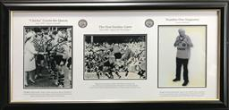Sale 9112T - Lot 12 - Framed Balmain Tigers triptych of photographs including Laurie Nicholls (43 x 93cm)