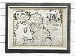 Sale 9126 - Lot 1147 - Early 18th Century Venetian Map of Northumberland, dedicated to Signore Angelo Morosini, partly hand-coloured & in black frame (H: 6...
