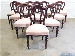 Sale 9179 - Lot 1077 - Assembled Set of 10 (7+3) Victorian Mahogany Admiralty Dining Chairs, seven with turned legs, the others with turned & reeded legs...