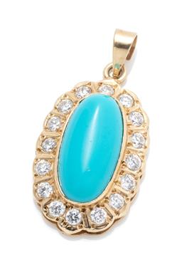 Sale 9253J - Lot 495 - A 14CT GOLD STONE SET PENDANT; centring an oval reconstituted turquoise to surround of round cut zirconias, size 32 x 16mm, wt. 3.62g.