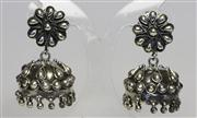 Sale 8036A - Lot 332 - A PAIR OF INDIAN STERLING SILVER JHUMKI STYLE EARRINGS; with post and butterfly fittings, length 4cm