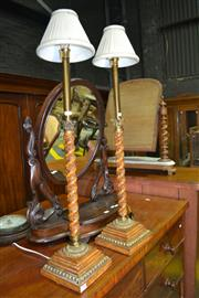Sale 8088A - Lot 35 - Pair of timber and gilt Italian table lamps. Height 87cm