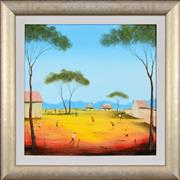 Sale 8309 - Lot 522 - Kym Hart (1965 - ) - Bush Picnic and Backyard Cricket 40 x 40cm