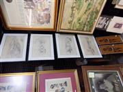 Sale 8417T - Lot 2098 - 4 Robert Doyle Pencil Drawings, Architectural Scenes plus 2 Aboriginal Pictures