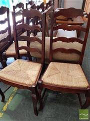 Sale 8469 - Lot 1010 - Set of Eight French Provincial Style Ladder Back Timber Dining Chairs with Rush Seats & Cabriole Legs To Front