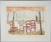 Sale 8506 - Lot 2010 - Elizabeth Vercae-Grieb - Evening on the Waterfront, Skopelos, 1979 45 x 60cm