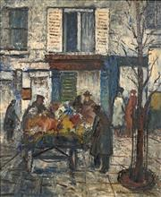 Sale 8713 - Lot 543 - George Feather Lawrence (1901 - 1981) - Flower Stall, Paris, 1966 54.5 x 44.5cm