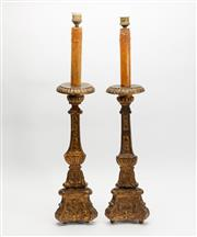 Sale 8788 - Lot 15 - A pair of carved giltwood torchere lamps, Italian 19th Century, H x 81cm