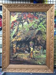 Sale 8776 - Lot 2028 - Balinese Village Scene Painting, frame size: 62 x 47cm