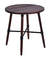 Sale 8957T - Lot 66 - Round 70 cm dining kitchen table. Solid Elm in a Walnut finish. Metal fixtures and cross bars W70 x D70 x H75