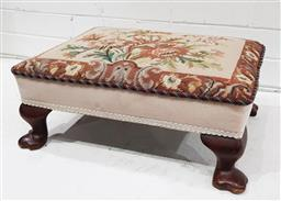 Sale 9097 - Lot 1090 - Tapestry Footstool, with floral needlework panel & cabriole legs (h:21 x l:49 x w:38cm)