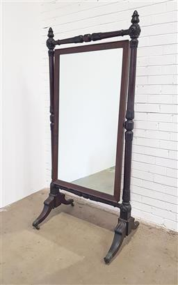Sale 9142 - Lot 1025 - Regency Mahogany Cheval Mirror, with angled cross-banded frame, all within a turned frame with leaf carving & finials, on outswept l...