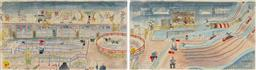 Sale 9161 - Lot 534 - PETER KINGSTON (1943 - ) Bev Lawson Rides Ye Old Turkey Trot...Entertainment Purposes (diptych) hand-coloured etchings, ed. 39/40 59...
