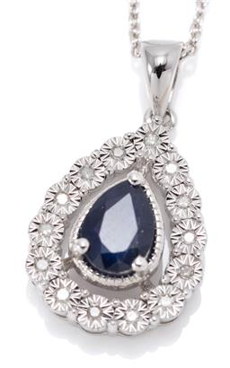 Sale 9164J - Lot 398 - A SILVER SAPPHIRE AND DIAMOND PENDANT NECKLACE; drop shape pendant centring a pear cut blue sapphire of approx. 0.86ct to surround o...