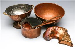 Sale 9168 - Lot 22 - Collection of copper wares inc colander, bowl and others