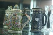 Sale 7874 - Lot 19 - English Majolica Stein & Another Heavily Decorated Capodimonte Stein (250)