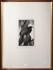 Sale 8080A - Lot 57 - Lionel Lindsay Perched Bird, lino cut, signed lower left.