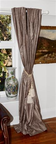 Sale 8088A - Lot 36 - Pair of lined curtains with tiebacks and tassels.