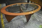 Sale 8310 - Lot 1014 - G-Plan Oval Atmos Coffee Table with Glass Top