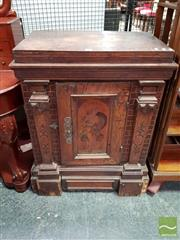 Sale 8485 - Lot 1009 - Late 19th Century German Oak Pier Cabinet, in the Renaissance manner, with simulated brick work & pilasters, the door inlaid with Lu...