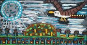 Sale 8535 - Lot 548 - Trevo (Turbo) Brown (c1967 - 2017) - Kookaburra Searches for a Resting Spot in the Moonlight, 2011 152 x 83cm (stretched/framed & re...