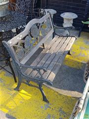 Sale 8566 - Lot 1466 - Timber and Metal Outdoor Bench (83 x 60 x 126)