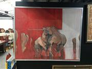 Sale 8720 - Lot 2095 - Robin Stewart - Stallions oil on canvas, 122x 153cm, signed and dated verso -