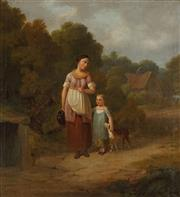 Sale 8881A - Lot 5049 - Artist Unknown (C19th) - Provincial Scene with Mother and Child 33.5 x 31.5 cm