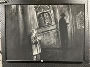 Sale 8936 - Lot 2081 - Margaret Morgan - Nocturnal Chapel Scene charcoal, 77 x 107cm, signed -