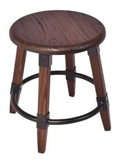 Sale 8957T - Lot 9 - A Pair Round stools. Solid Elm in a Walnut finish. Metal fixtures and bottom ring. W40 x D40 X H45