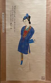 Sale 8985 - Lot 30 - A Chinese Scroll of a Lady, Ink and Colour on Paper