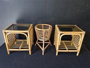 Sale 9051 - Lot 1027 - Pair Of Cane Sidetables With Smokey Glass Top & Cane Planter Stand (H38cm)