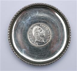 Sale 9098 - Lot 48 - A Colonial Indian Silver Coin Tray With Central Sterling Silver Rupee, William IV c1835