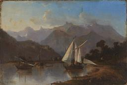 Sale 9123 - Lot 2014 - Herbert Arnould Olivier (1861 - 1952) Highland Lake Scene with Sailboats & Distant Views of Mountains oil on canvas (AF) 37 x 54 cm ...