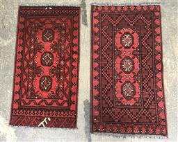 Sale 9112 - Lot 1043 - Pair of Hand knotted pure wool Turkoman red tone rugs (60 x 90cm)