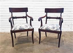 Sale 9142 - Lot 1004 - Pair of Regency Mahogany Armchairs, with tulip carved back rails, floral drop-in seats and sabre legs (h:90 w:56 d:56cm)