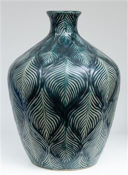 Sale 9150H - Lot 56 - A glazed ceramic vase with leaf design, height 27.5cm