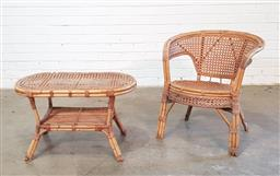 Sale 9151 - Lot 1398 - Vintage cane tub chair with matching side table (h70 x d65cm)